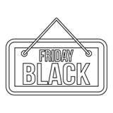 Icona dell'insegna di Black Friday, stile del profilo Immagini Stock Libere da Diritti