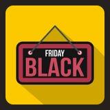 Icona dell'insegna di Black Friday, stile piano Royalty Illustrazione gratis
