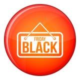 Icona dell'insegna di Black Friday, stile piano Immagini Stock Libere da Diritti