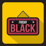 Icona dell'insegna di Black Friday, stile piano Immagine Stock