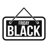 Icona dell'insegna di Black Friday, stile semplice Fotografia Stock Libera da Diritti