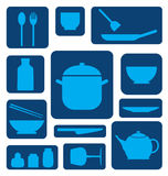 Icona dell'insieme della cucina Fotografie Stock Libere da Diritti