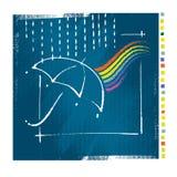 Icona dell'ombrello, stile artistico Immagini Stock