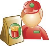 Icona dell'operaio degli alimenti a rapida preparazione Immagini Stock Libere da Diritti