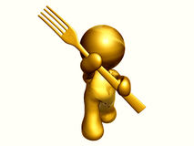 Icona dell'oro con pranzare gli utensili illustrazione vettoriale