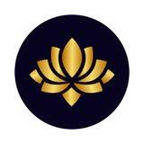 Icona dell'oro del fiore di loto del fumetto Immagine Stock Libera da Diritti