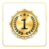 Icona dell'oro del premio della guarnizione Medaglia in bianco con la corona dell'alloro, fondo bianco isolato Emblema dorato di  Immagine Stock Libera da Diritti