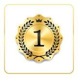 Icona dell'oro del premio della guarnizione Medaglia in bianco con la corona dell'alloro, isolata su fondo bianco Emblema dorato  Fotografie Stock