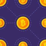 Icona dell'oro di bitcoin nello stile piano isolato su fondo blu Modello dei seamleess di vettore Elemento di disegno Fotografie Stock