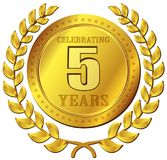 Icona dell'oro di celebrazione di anniversario Fotografie Stock