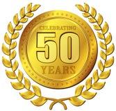 Icona dell'oro di celebrazione di anniversario Fotografia Stock