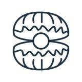 Icona dell'ostrica isolata su fondo bianco, segno dell'ostrica royalty illustrazione gratis