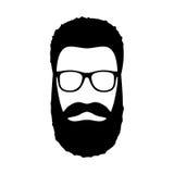 Icona dell'uomo dei pantaloni a vita bassa Acconciatura, barba e vetri nello stile piano Fotografia Stock
