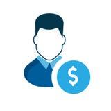 Icona dell'utente Un conto dell'uomo d'affari Guadagni i soldi Immagini Stock Libere da Diritti
