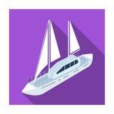 Icona dell'yacht nello stile piano isolata su fondo bianco Simbolo del trasporto royalty illustrazione gratis