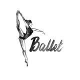 Icona della ballerina dell'illustrazione dell'acquerello nel ballo Scuola di balletto del manifesto di progettazione, studio Fotografia Stock