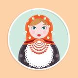 Icona della bambola russa di Matryoshka singola - illustrazione piana di vettore di stile Immagini Stock Libere da Diritti