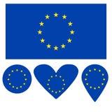 Icona della bandiera, cuore, cerchio, un puntatore, sotto forma di bandiera dell'Unione Europea royalty illustrazione gratis