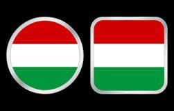 Icona della bandierina dell'Ungheria Immagini Stock Libere da Diritti