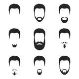 Icona della barba delle acconciature e fronte dei capelli nello stile piano Fotografia Stock Libera da Diritti