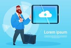 Icona della base di dati della nuvola di Hold Tablet Computer dell'uomo d'affari illustrazione vettoriale