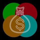 Icona della borsa dei soldi - simbolo di dollaro di vettore illustrazione vettoriale
