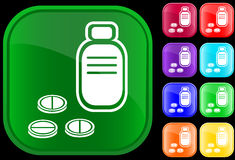 Icona della bottiglia e delle pillole Fotografia Stock