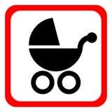 Icona della carrozzina su un fondo bianco Illustrazione di vettore Immagine Stock