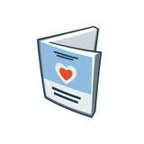 Icona della carta di amore dell'invito nello stile del fumetto Immagini Stock
