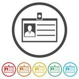 Icona della carta di codice utente, patente di guida dell'automobile, 6 colori inclusi illustrazione di stock