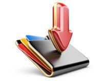 Icona della cartella 3d di download. Fotografia Stock