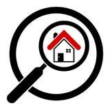 Icona della casa di ricerca in un cerchio Case del bene immobile?, appartamenti da vendere o per affitto magnifier Isolato illustrazione vettoriale