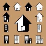 Icona della casa di vettore in bianco e nero Immagini Stock Libere da Diritti