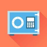 Icona della cassaforte dei soldi Vector l'illustrazione nello stile piano sul BAC arancio Fotografie Stock Libere da Diritti