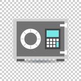 Icona della cassaforte dei soldi Vector l'illustrazione nello stile piano sulla b isolata Fotografia Stock