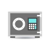 Icona della cassaforte dei soldi Vector l'illustrazione nello stile piano sulla parte posteriore di bianco Fotografia Stock