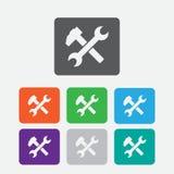 Icona della chiave e del martello il simbolo piano, angoli arrotondati, quadrato bianco si abbottona Immagine Stock
