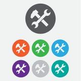 Icona della chiave e del martello simbolo piano, angoli arrotondati, fondo bianco Tasti rotondi del cerchio Fotografie Stock Libere da Diritti