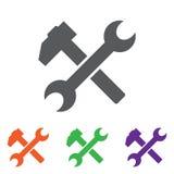 Icona della chiave e del martello simbolo piano, angoli arrotondati, fondo bianco Tasto variopinto Fotografia Stock
