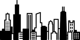 Icona della città dell'orizzonte di Chicago Fotografia Stock