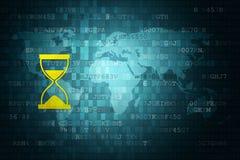 Icona della clessidra su fondo digitale blu con la mappa di mondo Cronometri il concetto Copi lo spazio royalty illustrazione gratis