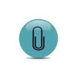 Icona della clip sul bottone blu Fotografie Stock Libere da Diritti