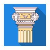 Icona della colonna nello stile piano isolata su fondo bianco Architetto Symbol illustrazione di stock
