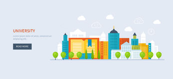 Icona della costruzione dell'università e della scuola Urbano Immagine Stock