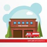 Icona della costruzione della caserma dei pompieri nello stile piano Ufficio di fuoco di emergenza Concetto per la città infograp Fotografie Stock Libere da Diritti