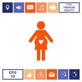 Icona della donna incinta con cuore Fotografia Stock Libera da Diritti