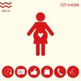 Icona della donna incinta con cuore Immagine Stock