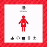 Icona della donna incinta con cuore Fotografie Stock Libere da Diritti