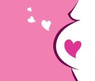 Icona della donna incinta con cuore (colore rosa) Fotografie Stock Libere da Diritti