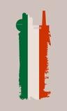 Icona della fabbrica e spazzola isolate di lerciume Bandierina dell'Italia Fotografia Stock